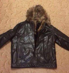 Куртка - дубленка зимняя кожанная с мехом волка