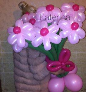 Розовые ромашки из шаров