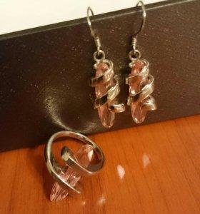 Серебро 925, кольцо, серьги