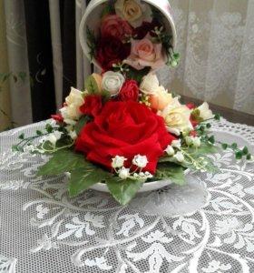 Кружка с цветами.