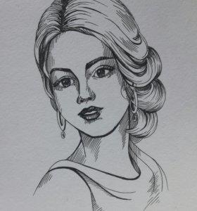 Портрет по фото ручкой