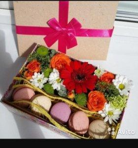 Макаруны цветы коробка