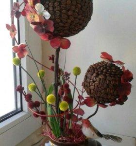 топиарии,конфетные композиции,кофе-деревце