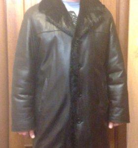 Куртка мужская удлинённая кожаная с мехом
