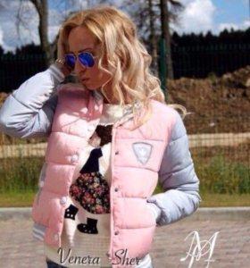 Куртка бомбер персиковая