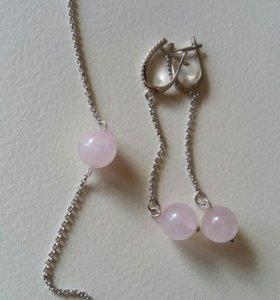 Комплект серьги+браслет натур. розовым кварцем