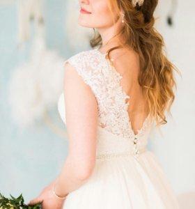 Свадебное платье прокат, шлейф, на рост 175 см