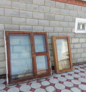 Окна деревянные двойные, застекленные