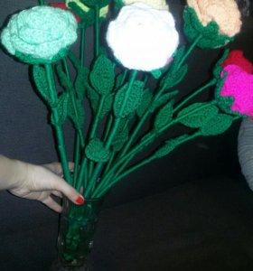 Вязаные розы ручная работа