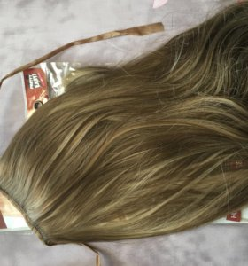 Волосы на заколках + хвост