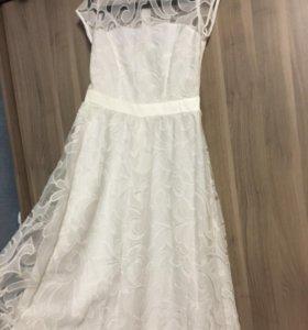 Платье свадебное белое в пол вышивка