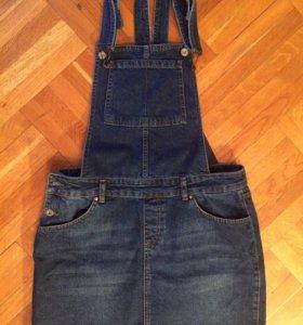 Комбинезон джинсовый с юбкой