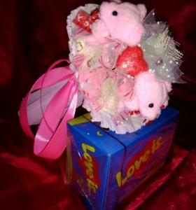 Букет Мини Мишки розовые