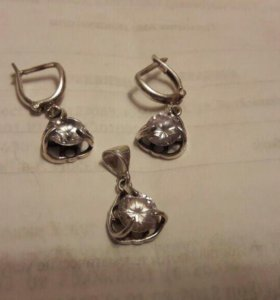 Сережка и кулон серебро