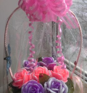 Корзиночка, букет роз из мыла