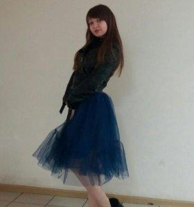 Новая фатиновая юбка темно- синего цвета