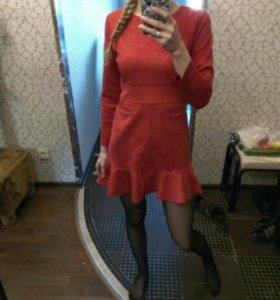 Платье красное типо замши