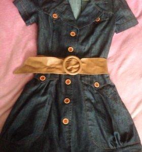 Платье джинсовое с ремнём