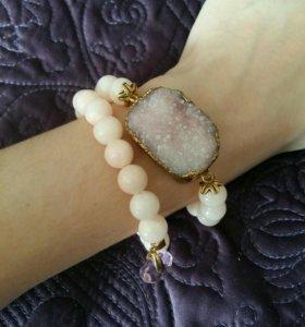 Браслет нежно-розовый с натуральным камнем