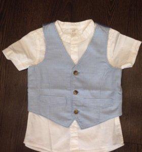 Рубашка детская с жилеткой hm размер 92