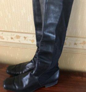 Кожаные сапоги чёрные 42 размер