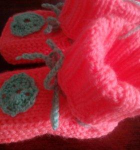 Вязаные пинетки - носочки, новые
