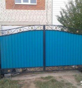 Кованые ворота + калитка в Серафимовском