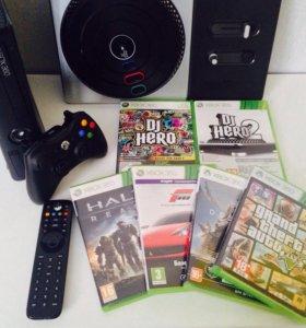 Xbox 360 slim 250gb + игры и девайсы