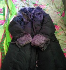 Пальто ТОТО натуральный мех и кожа