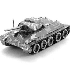 Сборная металлическая 3D модель- танк Т-34
