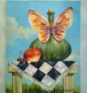 Натюрморт с бабочкой, картина маслом на холсте