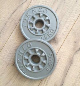 Блин(диск)для гантелей пластик ,вес 0,5кг