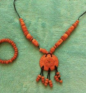 Керамическое ожерелье с браслетом