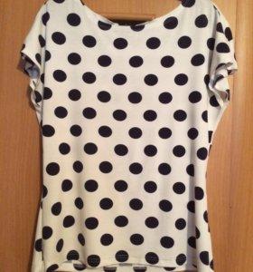Футболка/блузка в горошек 44-46 размер