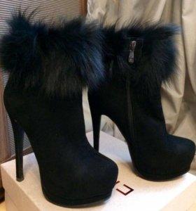 Ботильоны ботинки зимние из натуральной замши