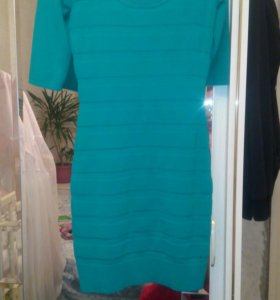 Платье зелено-бирюзовое