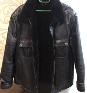 Кожаная мужская куртка зимняя