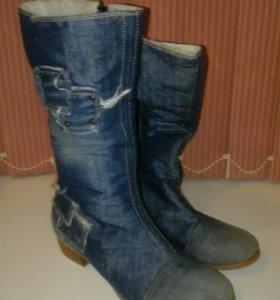 Сапоги джинсовые на меху новые