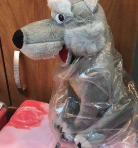 Музыкальная мягкая игрушка Волк (новая)