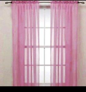 Тюль розовая новая 2 шт.