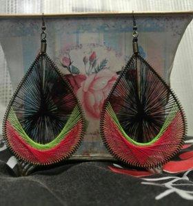 Плетеные сережки