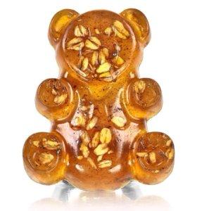 Мишка медовый мыло -скраб ручной работы