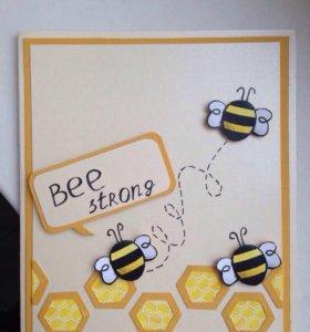 Открытка с пчелкой