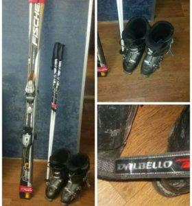 Горные лыжи с ботинками, палками