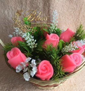 Корзинка цветов из мыла