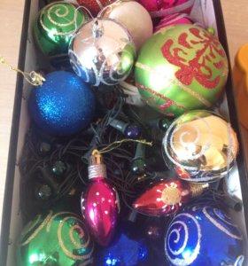 Полная коробка ёлочных игрушек+ электрич.гирлянда