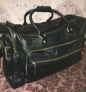 Новая мужская кожаная сумка саквояж