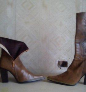 Обувь сапоги кожаные