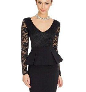 Новое. Платье черное с гепюром