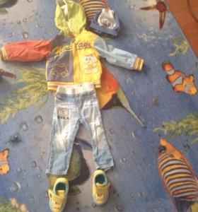 Осень комплект ветровка, кросы, шапка и джинсы